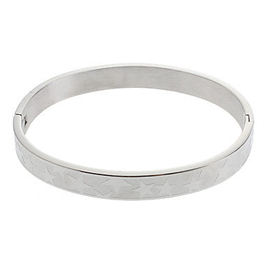 (1 Pc)Fashion Unisex Silver Stainless Steel Bangle