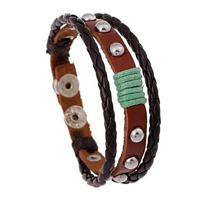 Retro 17cm Mem's Multicolor Leather LeatherBracelet(1 Pc)
