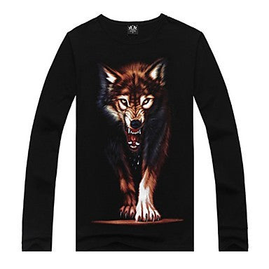 Men's Round Collar 3D Night Wolf Print T-shirt