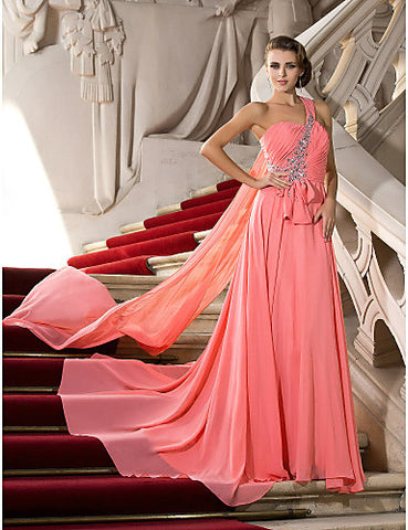 A-line One Shoulder Court Train Chiffon Evening/Prom Dress