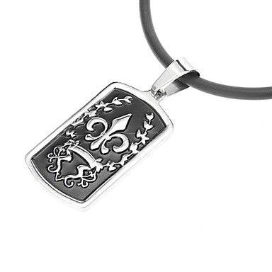 European Baroque Square Shape Silver Alloy Pendant Necklace (1 Pc)