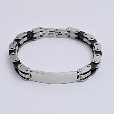 Classic Contrast Color Men's Stainless Steel Motorcycle Chain Tennis Bracelet
