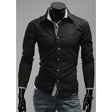 Men's Simple Plaids Contrast Color Causal Shirts