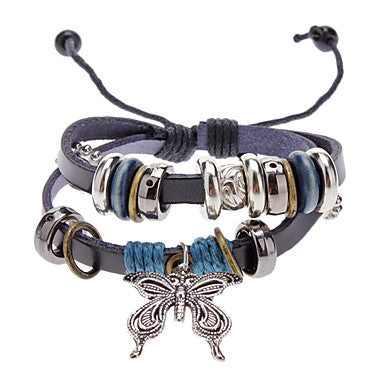 Unisex Butterfly Fabric Leather Bracelet