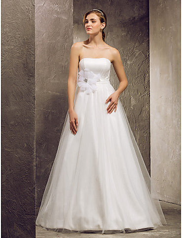Wedding Dress A Line Floor Length Tulle Strapless Bridal Gown With Sash