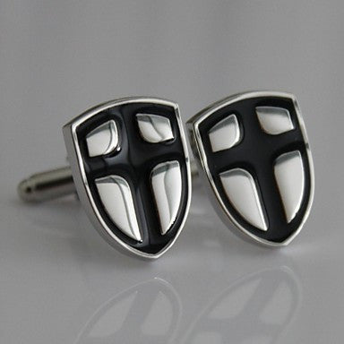 Crusaders Templar Knights Shield Cross Black Silver Suit Shirt Cufflinks