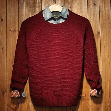 Men's Round Collar Long Sleeve Casual Sweaters (More Colors Available)