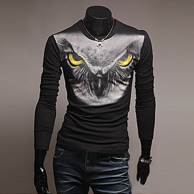 Men's Fashion Print Slim Round Neck Long Sleeve T-Shirt