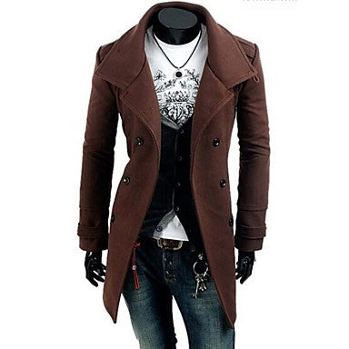 Men's The New Type Epaulets Double Breasted Wool Coat