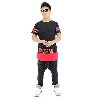 Men's T-Shirts Hip Hop Street Wear Zipper Long Style Knee
