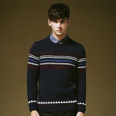 Men's Round Collar Vintage Cotton Long Sleeve Sweater Shirt