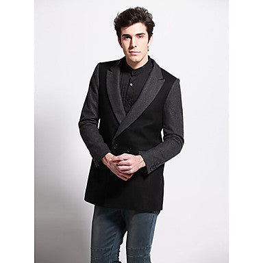 Men's Stylish Splicing Long Causal Coat