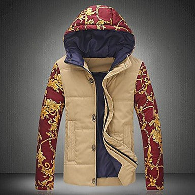 Men's Casual Floral Ethnic Individuality Hooded Padded Jacket
