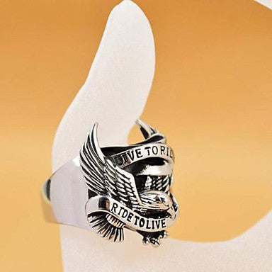 Vintage Men's Cast Metal Falcon Stainless Steel Ring