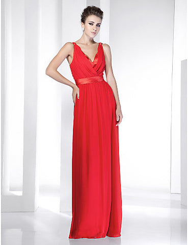 Chiffon Stretch Satin Floor-length V-neck Evening Dress inspired by Selena Gomez