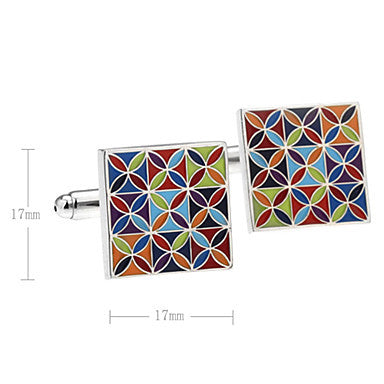 Men's Multicolor Square Cufflinks(2 PCS)