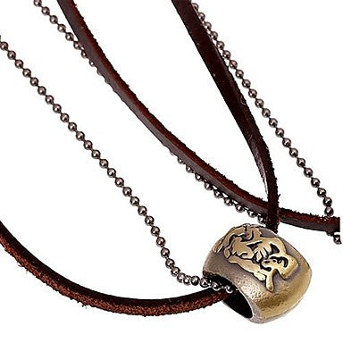 Men's Fashion Retro Pattern Leather Necklace