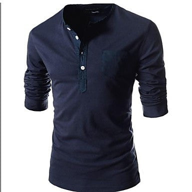 Men's Round Neck Multi Button Long Sleeve T-Shirt