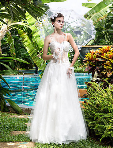 A-line Sweetheart Lace And Satin Floor-length Wedding Dresses