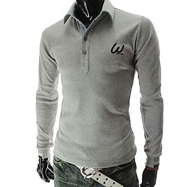 Men's Lapel Embroidery Long Sleeve Polos