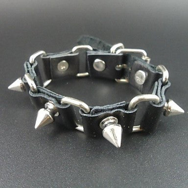 2015 Punk Style Vintage Spike Charms Genuine Leather Men Link Bracelet