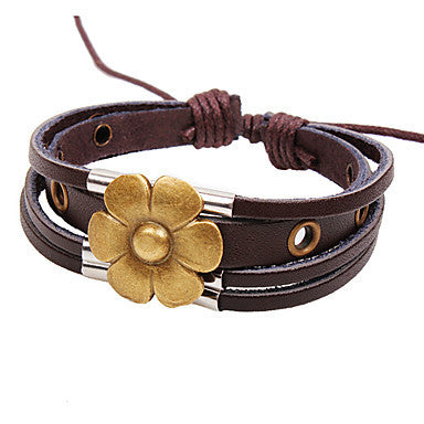 Men's Multilayer Flower Brown Leather Wrap Bracelet