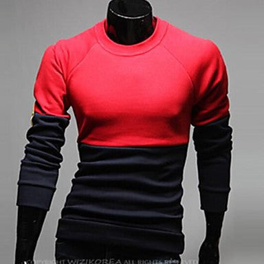 Men's Round Collar Contrast Color Causel Long Sleeve Knitwear Shirt