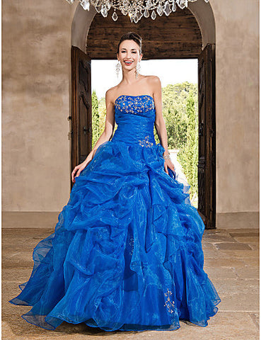Ball Gown Strapless Floor-length Organza Satin Evening/Prom Dress