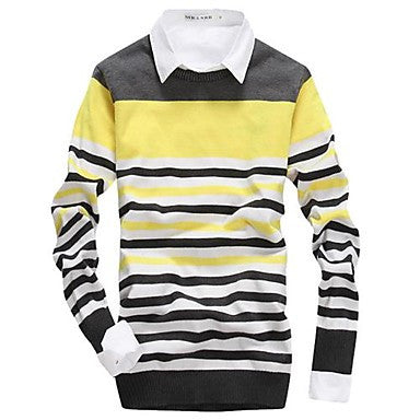Men's Wear Stripes Round Collar Knitting A Sweater