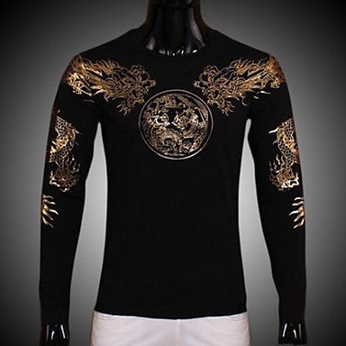 Men's Solid Gold Shuanglong Fitting Long Sleeved T-shirt Bottoming Shirt