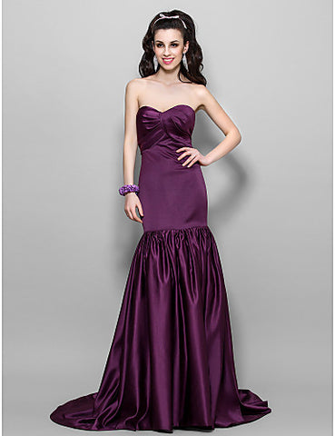 A-line Sweetheart Sweep/Brush Train Satin Evening Dress