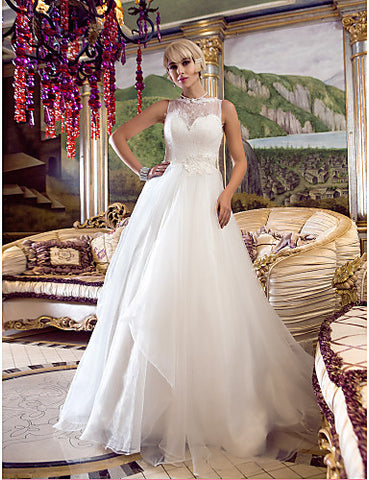 A-line Princess Queen Anne Court Train Organza And Lace Wedding Dress (632799)