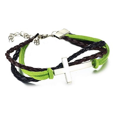 Hand Made Fashion LOVE Cross Braided Genniue Leather Rope Bracelet