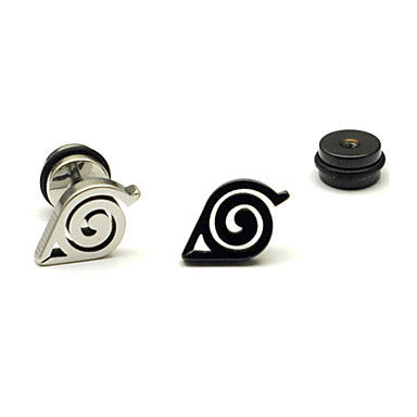 Fashion Multicolor Titanium Steel Stud Earrings(Silver,Black) (1 Pc)