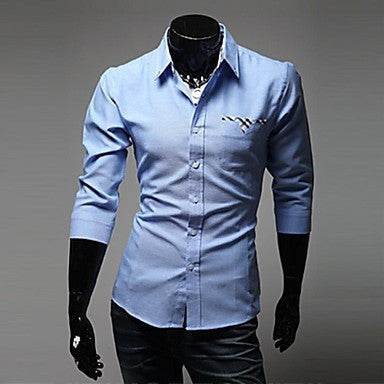 Men's Slim Casual Contrast Color Long Sleeved Shirt