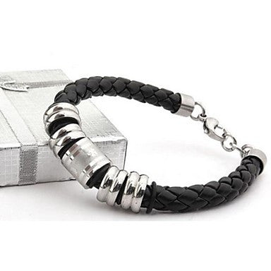 Men's Fashion Personality Titanium Steel Leather Woven Clover Design Bracelets
