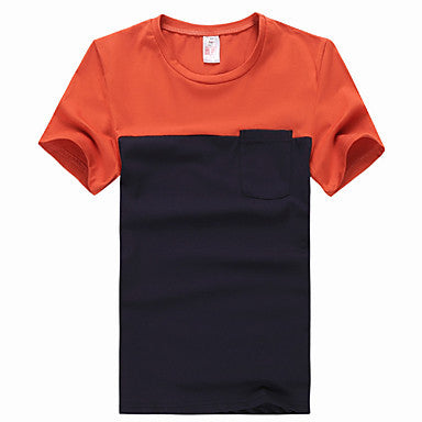Men's Contrast Color Round Collar T-Shirt
