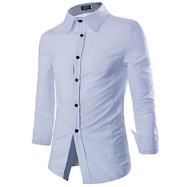 Men's All Match Fine Pattern Front Edge White Shirt