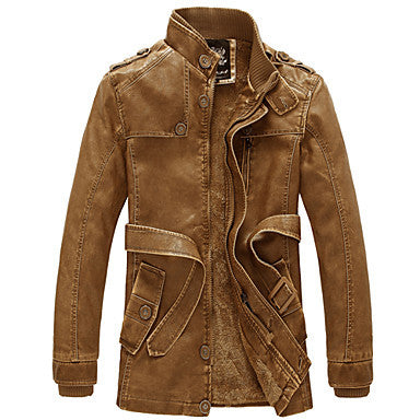 Man Wind Restoring Ancient Ways with Velvet Male Long Leather Coat