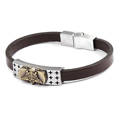 Fashion Triangle Men's Brown Leather Leather Bracelet(1 Pc)