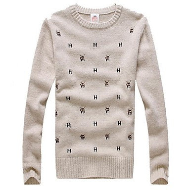 Men's Korean Slim Round Neck Knit Sweater