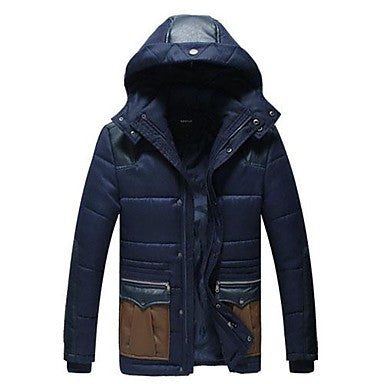 Men's Stitching Color Cotton Coat
