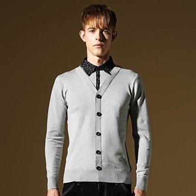 Men's New Korea Style T-shirt Neck Fashion Slim Fit Casual Knitwear Sweater