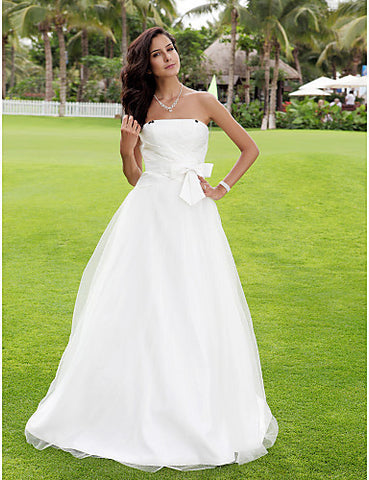 A-line Satin Tulle Wedding Dress with Draped and Bow