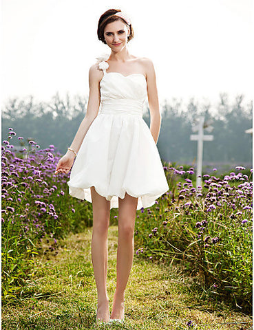 A-line One Shoulder Short/Mini Taffeta Wedding Dress