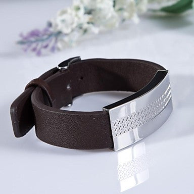 Fashion Men's Brown Cross Marks 316L Stainless Steel Leather Bracelet