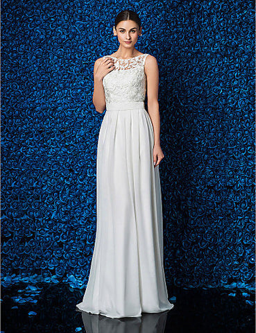 Sheath/Column Jewel Floor-length Chiffon And Lace Wedding Dress (JL14003)