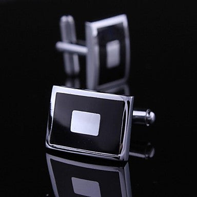 Elongated Solid Black and White Cufflinks Mens Cufflinks (1pair)