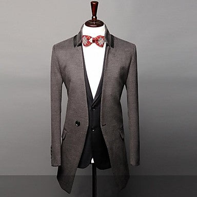 Men's Slim Stand Casua Pure Long Blazer Coat