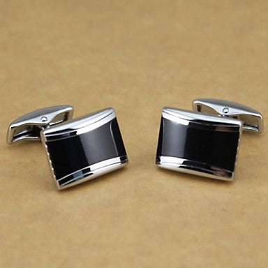 Elongated Solid Black and Silver Cufflinks Men's Cufflinks (1pair)